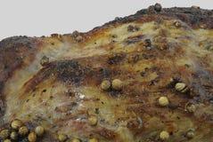 Macro da carne grelhada com o coentro isolado no cinza Foto de Stock Royalty Free