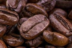 Macro da composição do marrom escuro de feijões de café fotos de stock royalty free