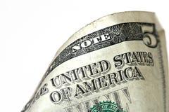 Macro da conta de dólar cinco foto de stock
