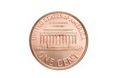 Macro da moeda de um centavo isolado Imagens de Stock