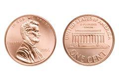 Macro da moeda de um centavo isolado Imagem de Stock