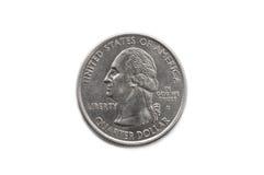 Macro da moeda do dólar de um quarto Foto de Stock Royalty Free