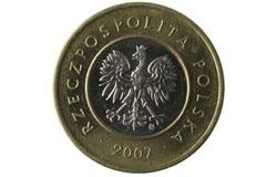 Macro da moeda do zloty do polonês 2 imagens de stock royalty free