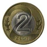 Macro da moeda do zloty do polonês 2   foto de stock