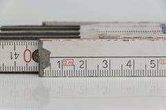 Macro da regra de dobradura, régua de dobradura do close up Foto de Stock Royalty Free