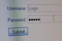 Macro da tela de início de uma sessão do Web site Fotografia de Stock