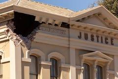 Macro de Aardbevingsschade van Building Napa California van de schaderechtvaardigheid Royalty-vrije Stock Afbeelding