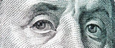 Macro de Benjamin Franklin a partir de la cuenta de dólar el $100 Foto de archivo libre de regalías
