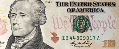 Macro de Bill de dólar diez Fotografía de archivo libre de regalías
