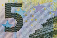 Macro de billet de banque de l'euro 5 Photo stock