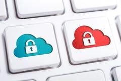 Macro de botões seguros e inseguros da nuvem com ícone aberto e fechado do fechamento em um teclado branco fotos de stock