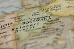 Macro de Botswana em um globo Imagens de Stock Royalty Free