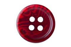 Macro de costura roja del botón Imagen de archivo libre de regalías