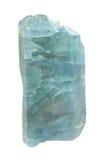 Macro de cristal azul da apatite - pedra semipreciosa isolada no fundo branco imagem de stock royalty free