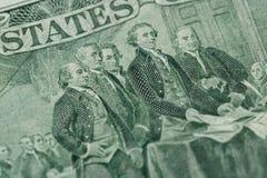 Macro de duas notas de dólar, close up do dinheiro de Estados Unidos Imagens de Stock