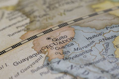 Macro de Equador em um globo Imagem de Stock