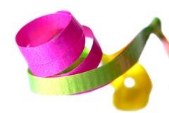 Macro de fitas cor-de-rosa, verdes e amarelas Fotografia de Stock Royalty Free