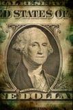 Macro de George Washington no estilo do vintage do grunge da cédula do dólar dos EUA Foto de Stock Royalty Free