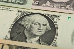 Macro de George Washington sur le billet de banque du dollar des Etats-Unis Photographie stock libre de droits