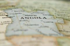 Macro de l'Angola sur un globe Photographie stock libre de droits
