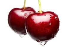 Macro de la cereza roja Foto de archivo