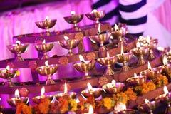Macro de la luz del deepak del tiempo de Diwali foto de archivo libre de regalías