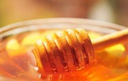 Macro de la miel con el cazo de madera de la miel en el tarro de cristal Fotografía de archivo libre de regalías