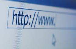 Macro de la pantalla de ordenador de WWW Imágenes de archivo libres de regalías