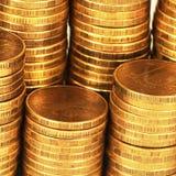 Macro de la pila del dinero del oro foto de archivo libre de regalías