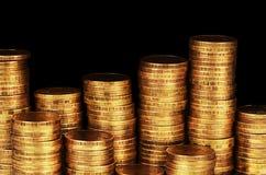 Macro de la pila del dinero del oro imágenes de archivo libres de regalías