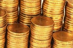 Macro de la pila del dinero del oro fotos de archivo libres de regalías