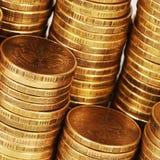 Macro de la pila del dinero del oro fotografía de archivo libre de regalías