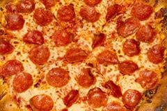 Macro de la pizza de salchichones Fotos de archivo