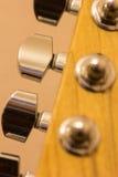Macro de las clavijas de adaptación de la guitarra Fotografía de archivo