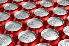 Macro de latas do metal com bebidas de refrescamento Imagens de Stock Royalty Free