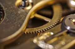 Macro de los internals viejos de un reloj Imagen de archivo