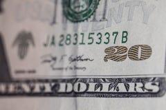 macro de 20 notas de dólar Foto de Stock Royalty Free