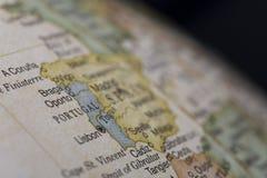 Macro de Portugal no globo Fotos de Stock Royalty Free