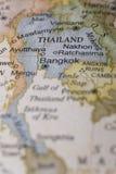 Macro de Tailândia em um globo Imagens de Stock Royalty Free