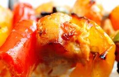Macro de tikka et de poivron de poulet photographie stock libre de droits