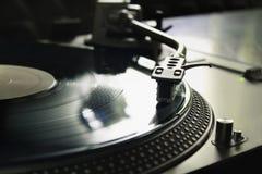 Macro de um jogador de registro profissional do DJ Conceito: Música, DJ, passatempo, paixão fotografia de stock royalty free