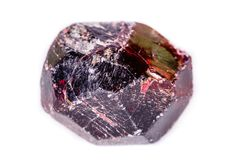 Macro de uma pedra mineral da grandada em um fundo branco Imagem de Stock Royalty Free