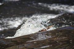 Macro del agua que baja sobre la presa Imágenes de archivo libres de regalías