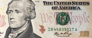 Macro del Bill del dollaro dieci Fotografia Stock Libera da Diritti
