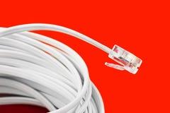 Macro del cable del teléfono Foto de archivo libre de regalías