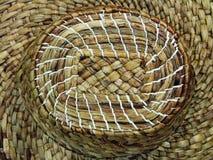 Macro del cappello tessuta in paglia fotografia stock