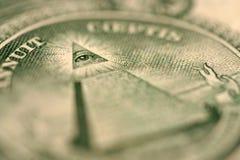 Macro del detalle de Bill de dólar fotografía de archivo