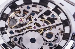 Macro del mecanismo del reloj Imagen de archivo