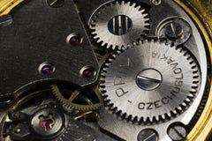 Macro del mecanismo impulsor del reloj Foto de archivo