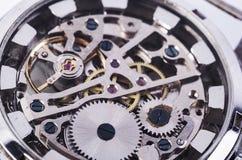 Macro del meccanismo dell'orologio Immagine Stock